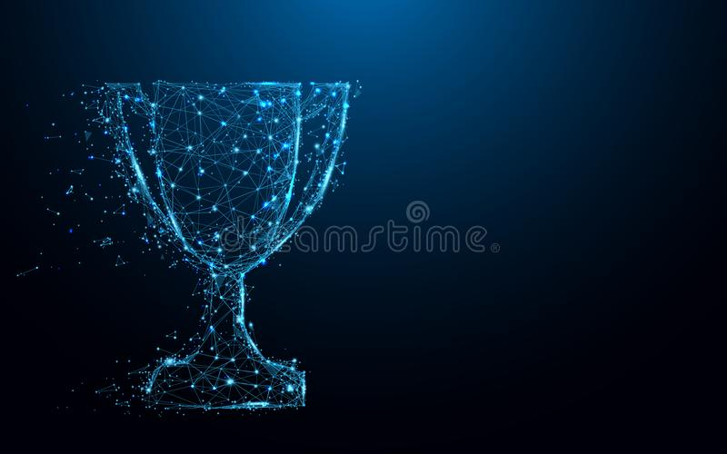 Abstract Trophy cup form lines and triangles, point connecting network on blue background stock illustration