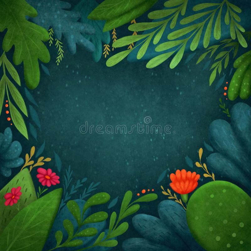 Abstract tropical background. Digital illustration stock illustration