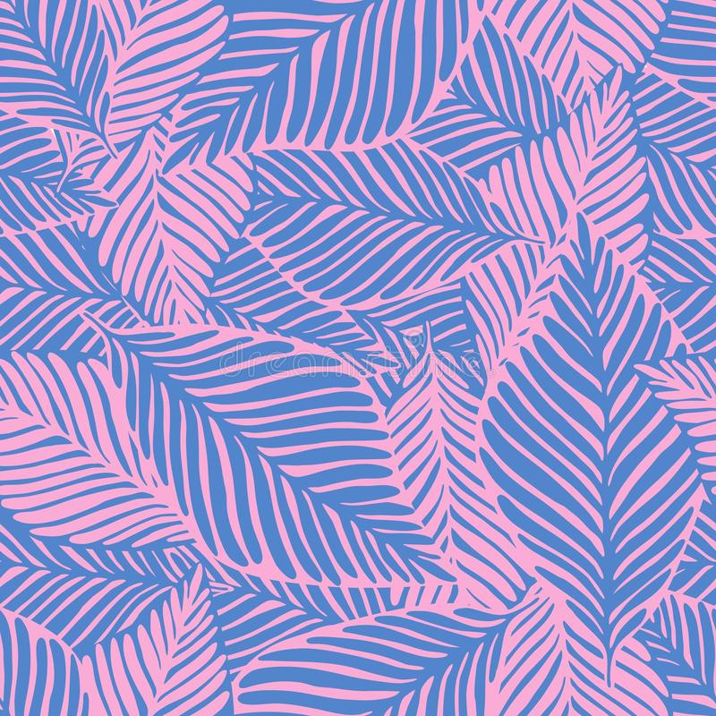 Abstract tropical pattern, palm leaves seamless floral background royalty free illustration
