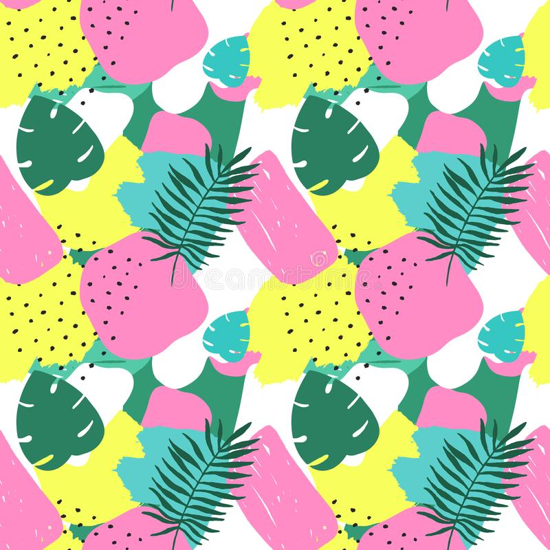Vector Abstract Tropical Seamless Pattern. Colorful Hand drawn Elements, Paper Collage. Exotic Jungle Plants Background. Summer Fl stock illustration