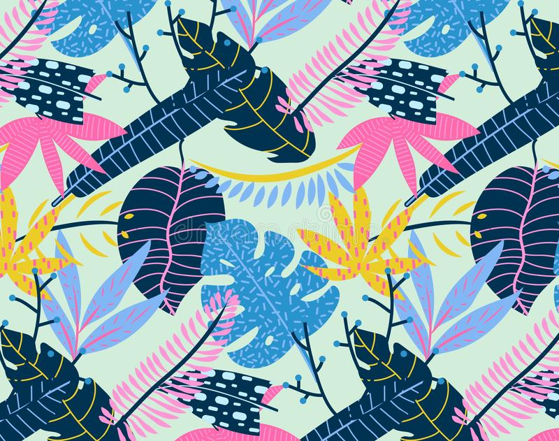 Abstract tropical summer background. Vector seamless tropical pattern vector illustration