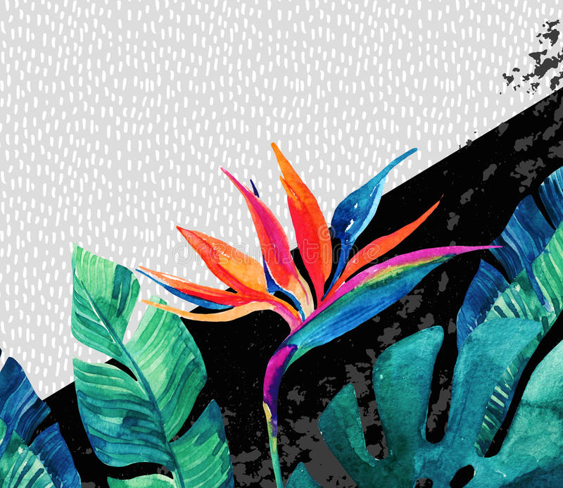 Abstract tropical summer design in minimal style. royalty free illustration
