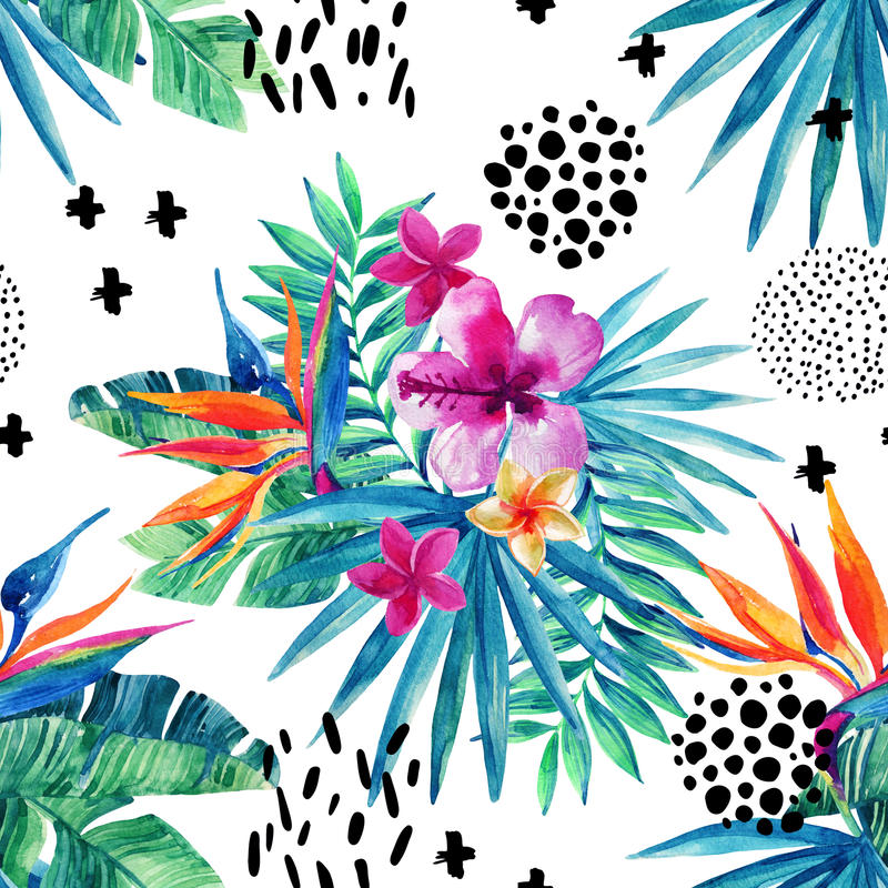 Abstract tropical summer seamless pattern. Watercolor exotic flowers, palm leaves, grunge textures, doodles. Water color background with 80s or 90s elements royalty free illustration