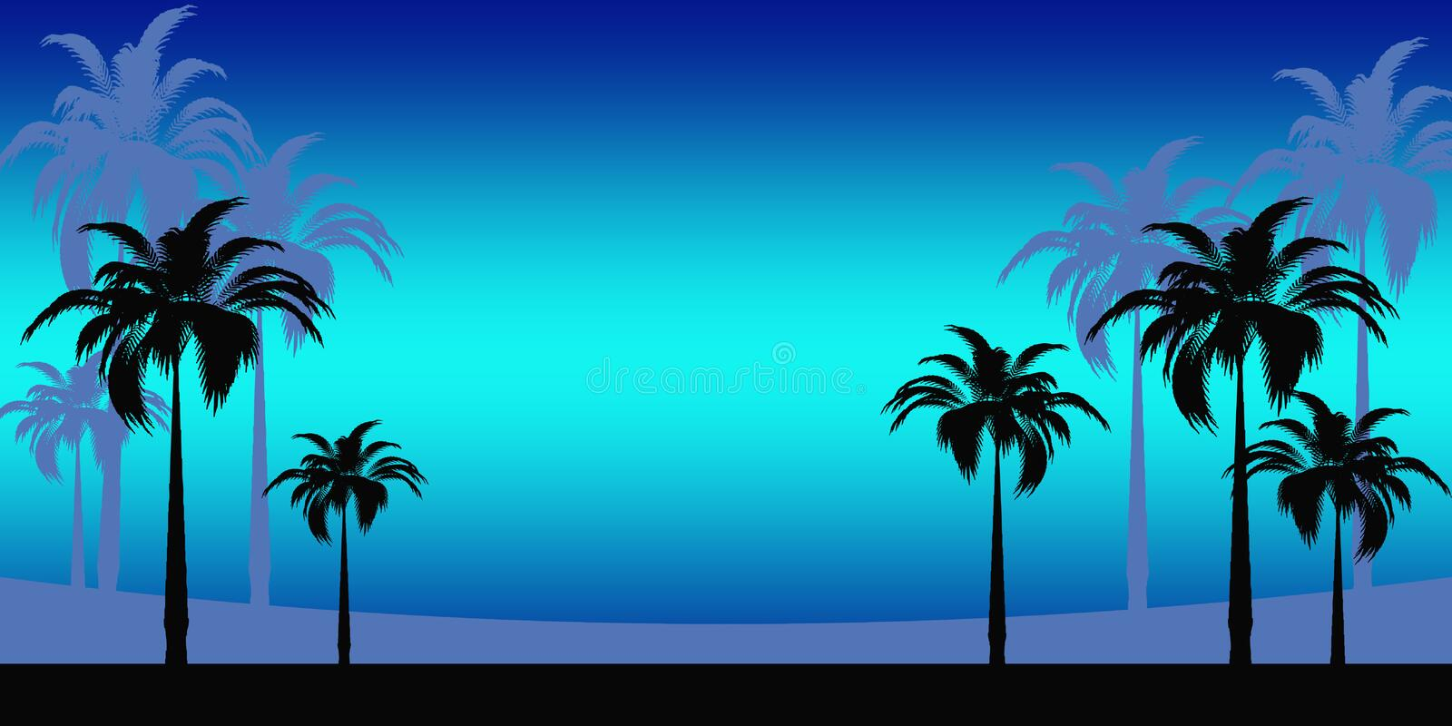Abstract Tropical vacation. Bright panoramic premise with palm trees stock illustration