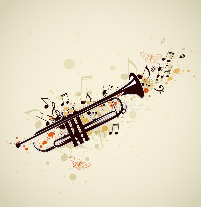 Download Abstract trumpet and notes stock vector. Image of treble - 30899952