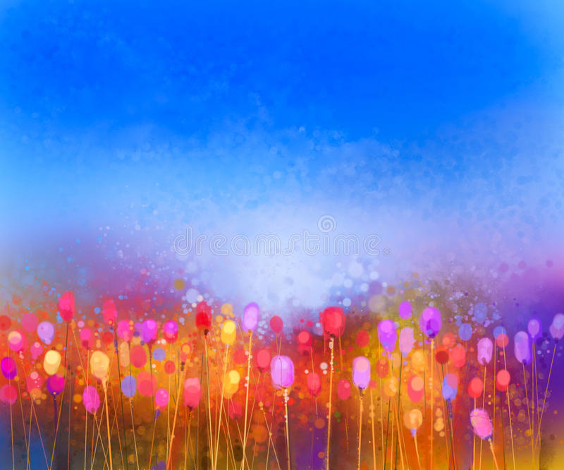 Abstract tulip flower field watercolor painting. Hand painted yellow red flowers in soft color with blue sky. Abstract floral paintings in the meadows. Spring royalty free illustration