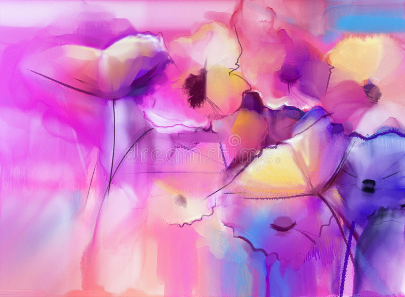 Abstract Tulip flowers watercolor painting stock illustration