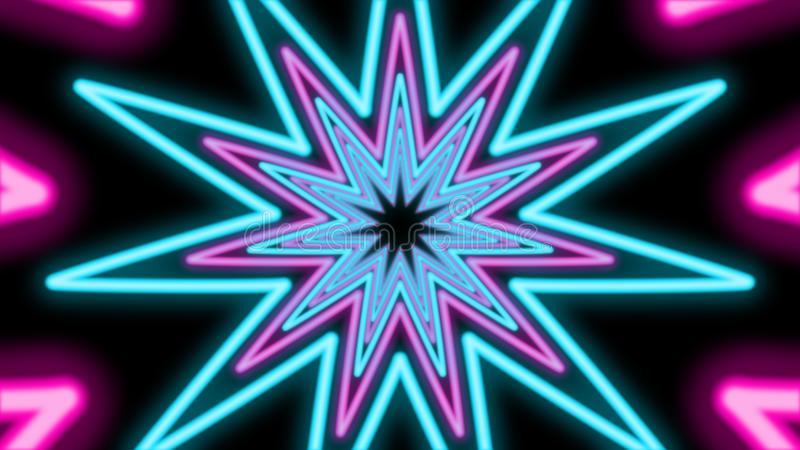 Abstract Tunnel from Colorful Stars. A futuristic 3d illustration of an abstract tunnel from shining cyan and pink eleven-pointed stars in the black background vector illustration