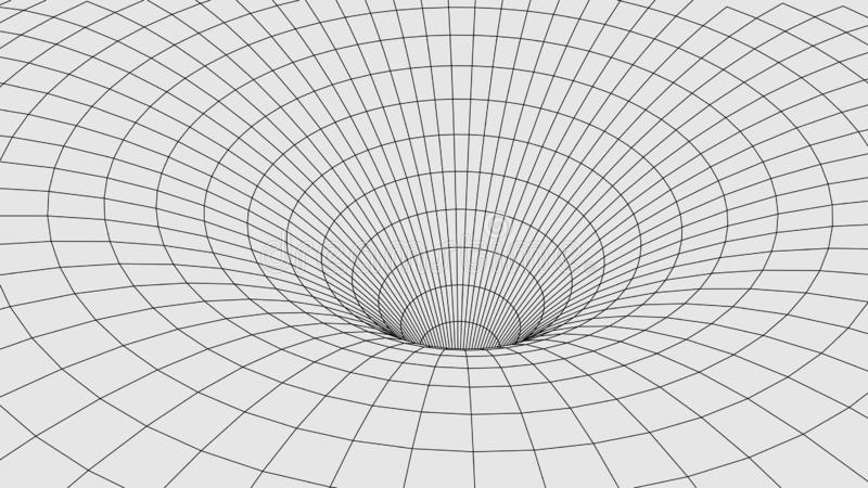 Abstract tunnel. 3D  wormhole with a mesh structure stock illustration