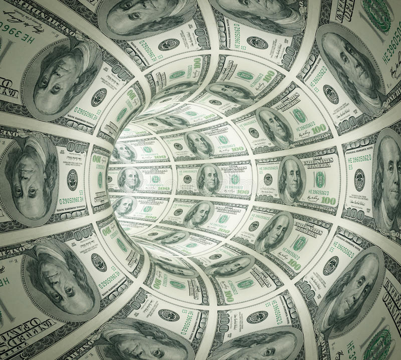 Abstract tunnel made of money. stock photos
