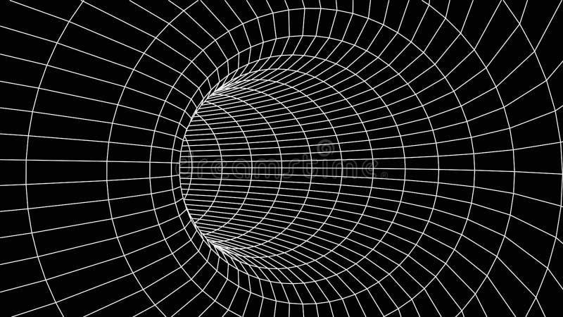 Abstract tunnel. Vector wormhole. 3D corridor mesh royalty free illustration
