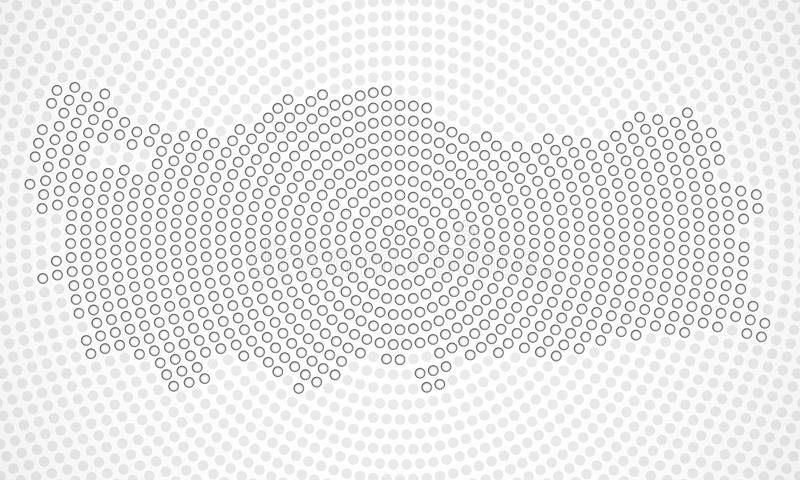 Abstract Turkey map of radial dots, halftone concept vector illustration