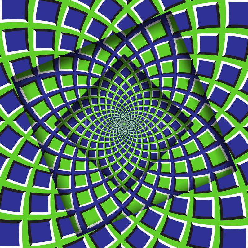 Abstract turned frames with a rotating green blue squares pattern. Optical illusion background vector illustration