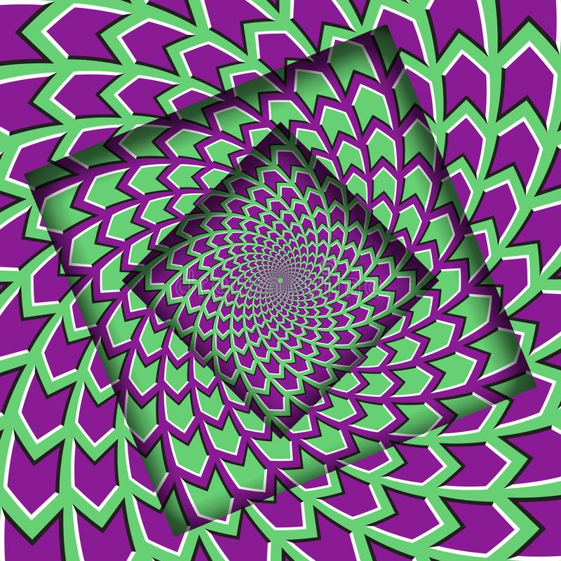 Abstract turned frames with a rotating green purple arrows pattern. Optical illusion background stock illustration