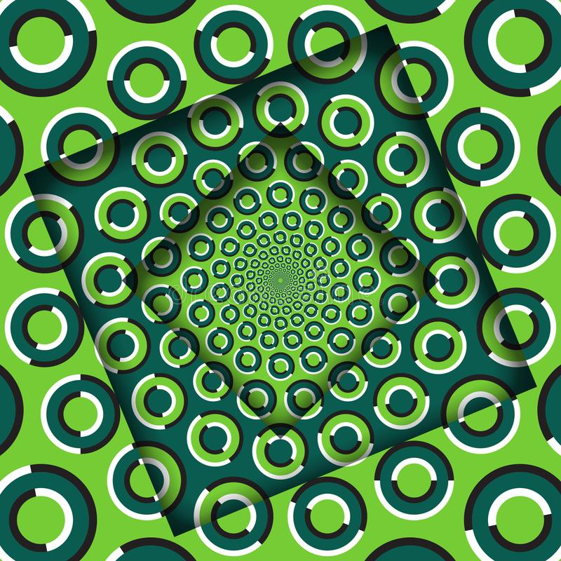 Abstract turned frames with a rotating green rings pattern. Optical illusion background stock illustration