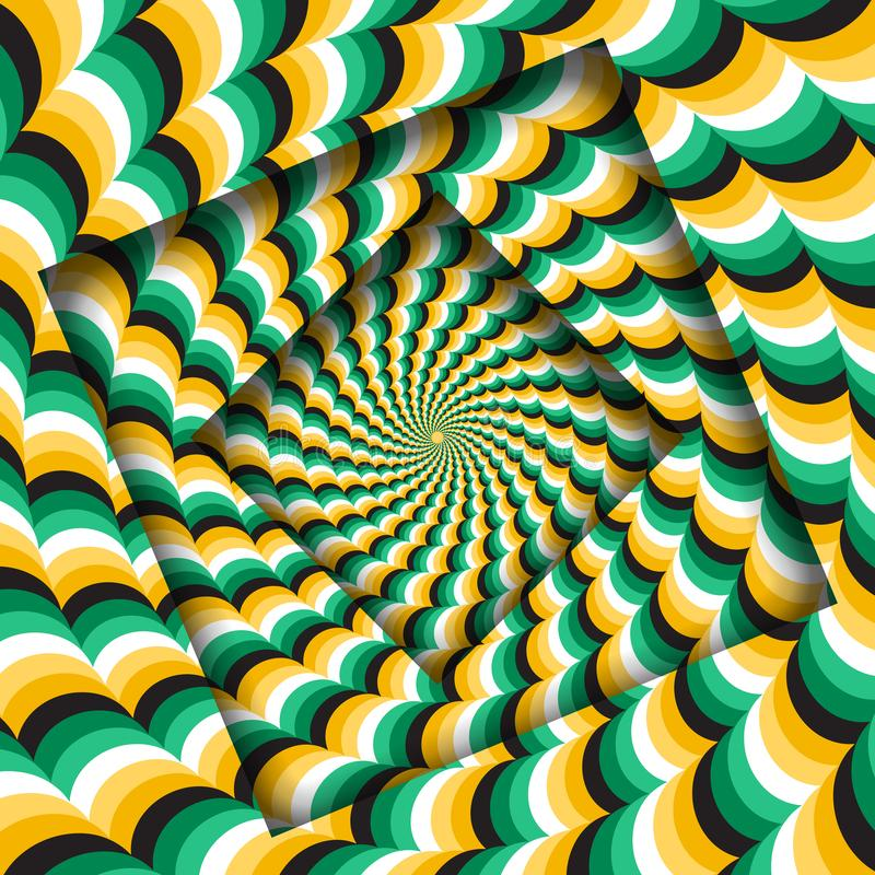 Abstract turned frames with a rotating green yellow wavy pattern. Optical illusion background royalty free illustration