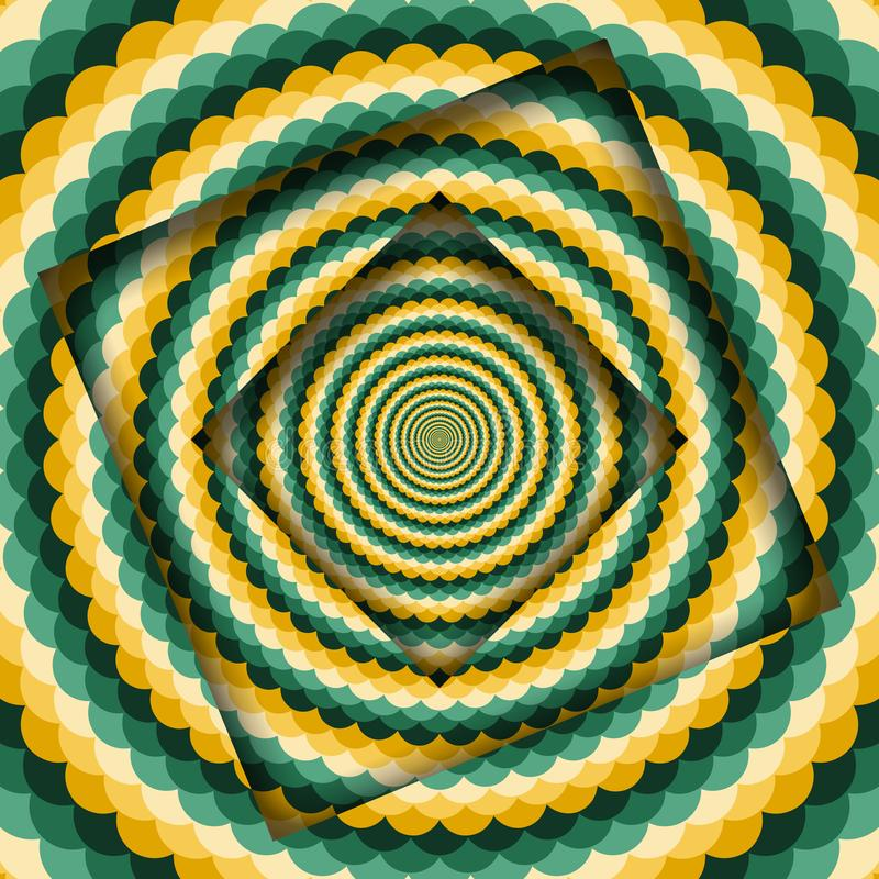 Abstract turned frames with a rotating green yellow wavy pattern. Optical illusion hypnotic background vector illustration