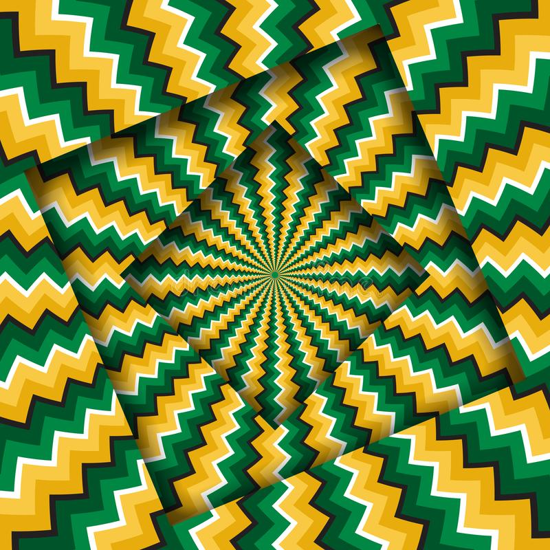 Abstract turned frames with a rotating green yellow zigzag pattern. Optical illusion background vector illustration