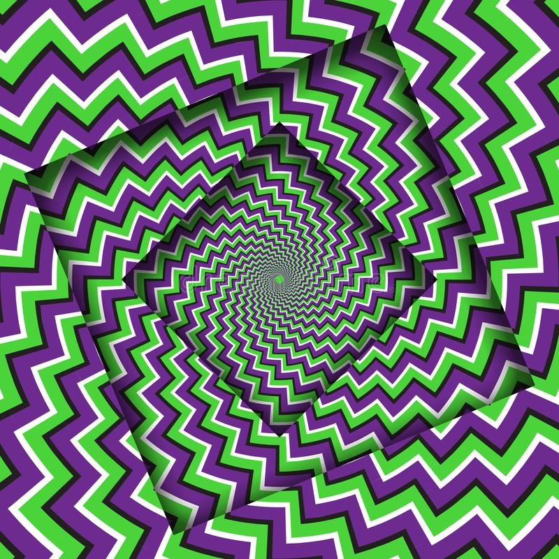 Abstract turned frames with a rotating purple green zigzag stripes pattern. Optical illusion hypnotic background stock illustration