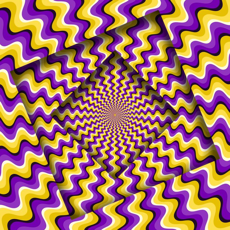 Abstract turned frames with a rotating purple yellow wavy pattern. Optical illusion background royalty free illustration