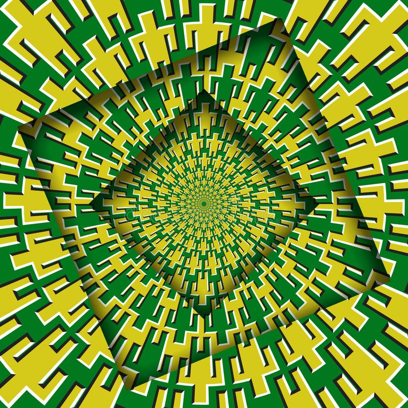 Abstract turned frames with a rotating yellow green men symbols pattern. Optical illusion hypnotic background royalty free illustration