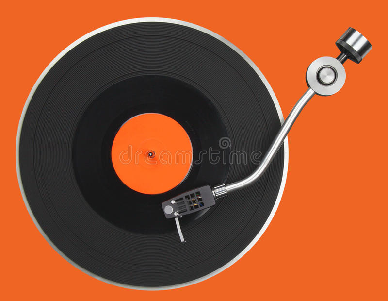 Abstract turntable. Part isolated on orange royalty free stock photos