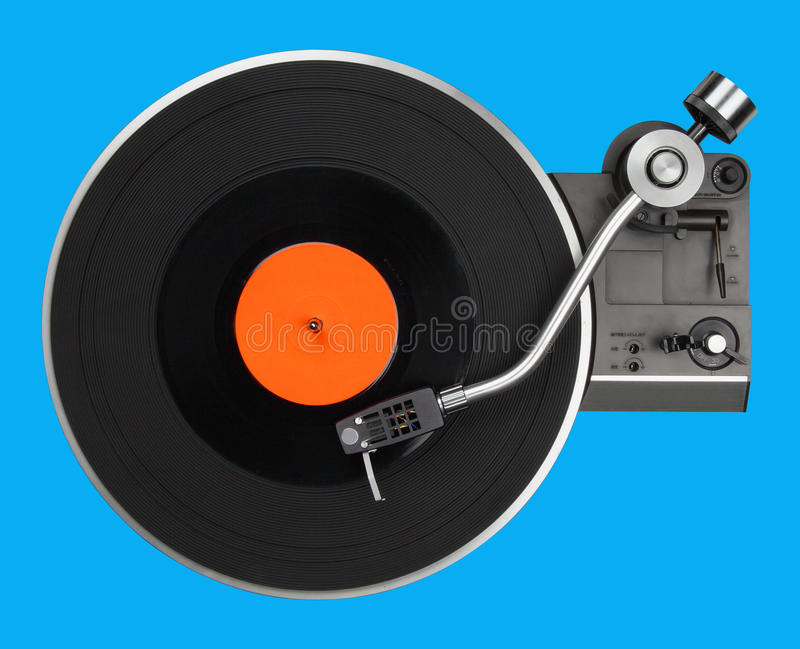 Abstract turntable on blue stock images