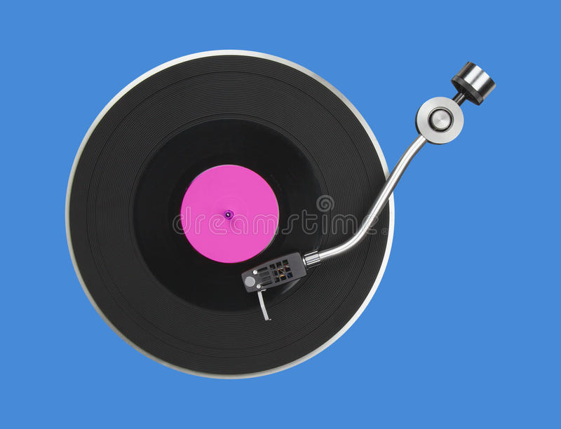 Abstract turntable on blue stock image