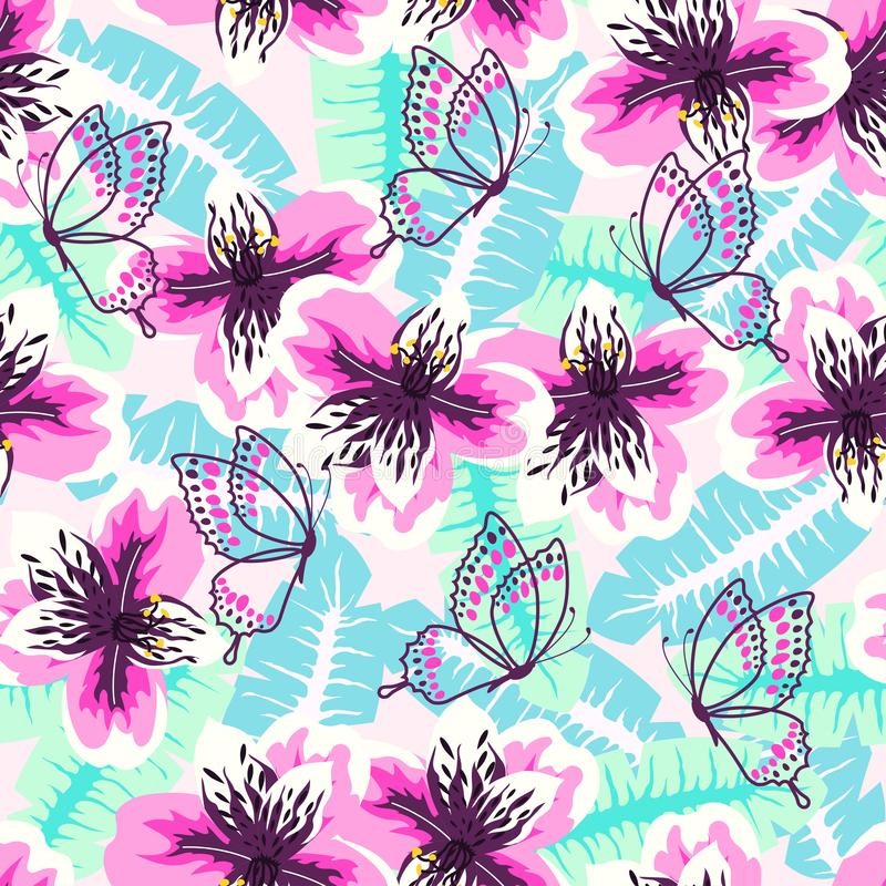 Abstract turquoise pink pattern royalty free illustration