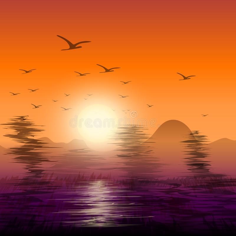 Abstract twilight of nature with birds flying back nest. Abstract twilight of nature with flock of birds flying back nest royalty free illustration