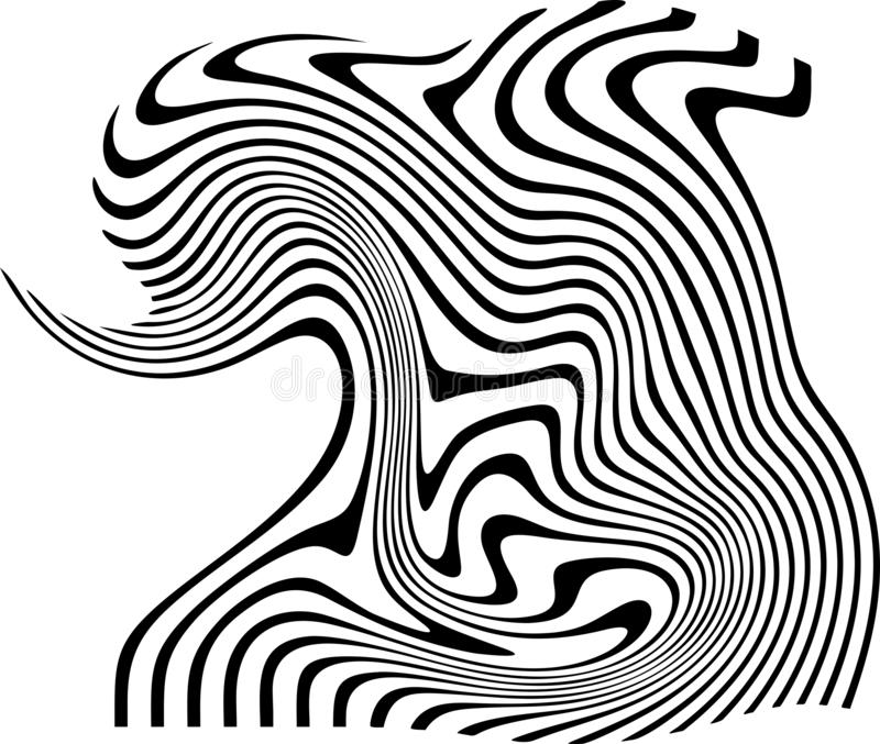 Abstract twirl simple black strips white background shaded strips vivid vector illustration wallpaper. stock illustration