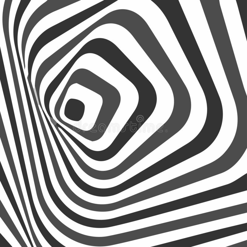 Abstract twisted black and white background. Optical illusion of distorted surface. Twisted stripes. Stylized 3d texture. Vector. Illustration vector illustration