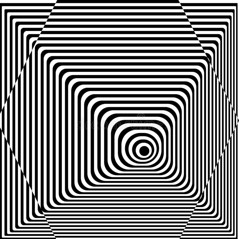 Abstract twisted black and white background. Optical illusion of distorted surface. Twisted stripes. Stylized 3d texture. Vector. Illustration royalty free illustration