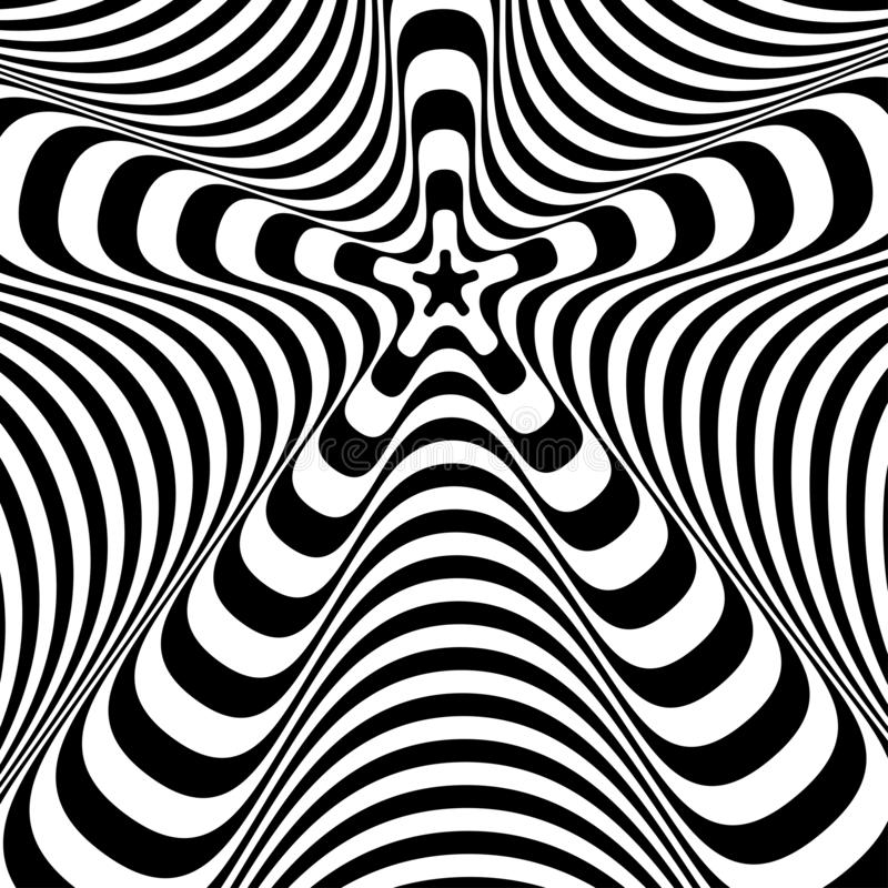 Abstract twisted black and white background. Optical illusion of distorted surface. Twisted stripes. Stylized 3d texture. Vector stock illustration