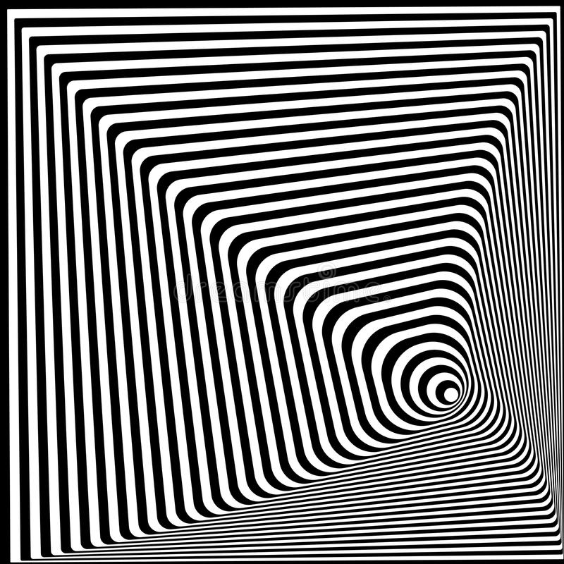 Download abstract twisted black and white optical illusion striped background optical art 3d