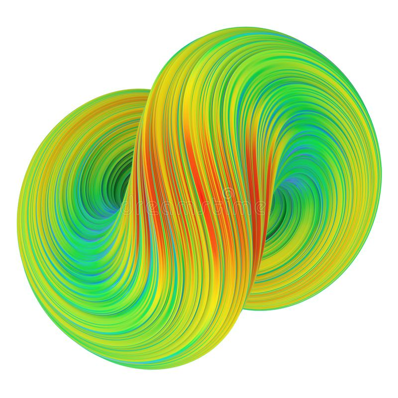 Abstract twisted colorful 3D shape stock illustration