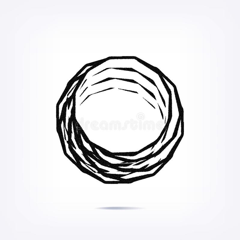 Abstract element on white background. Spiral dotted shape royalty free illustration