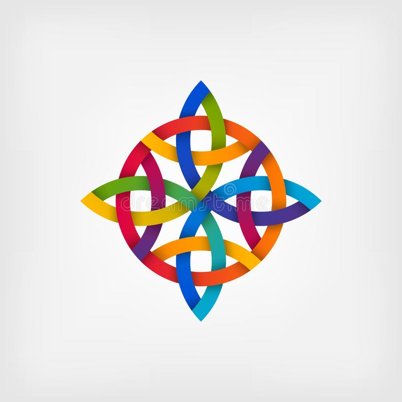 Abstract twisted symbol in gradient colors royalty free illustration