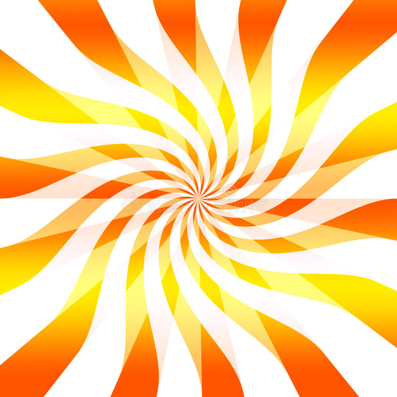 Abstract twisting background. Abstract, fun background of twisting or twirling orange and yellow lines, white background stock illustration