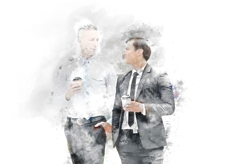 Abstract Two business man talking business partner and offices building background on watercolor painting. Background stock image