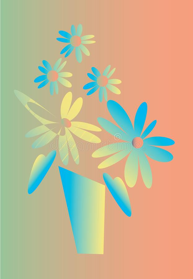 Abstract two-colored flowers in vase, vector illustration stock photos