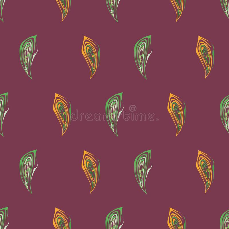 Abstract two-tone orange and green fall leaves in painterly brushstroke style design. Vector seamless pattern on. Burgundy color background. Great for packaging vector illustration