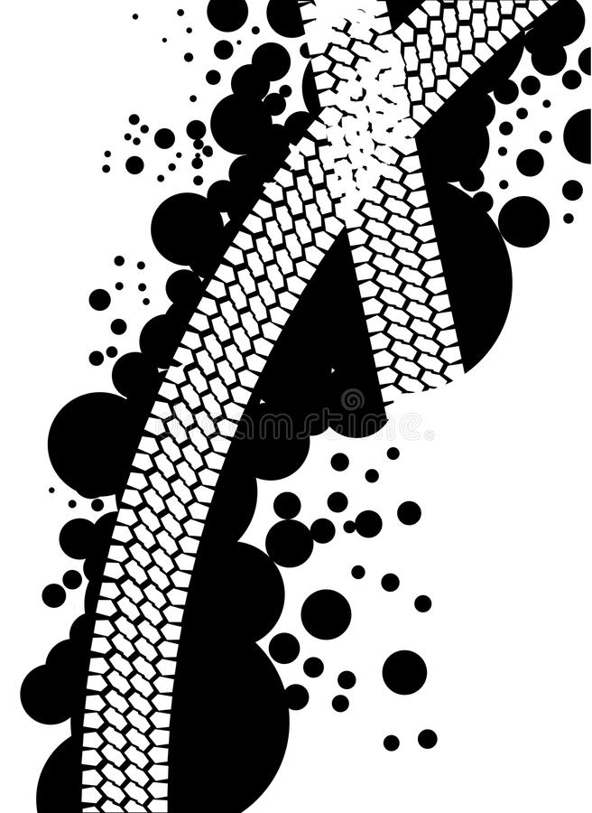 Abstract Tyre Tread Marks. Two tyre tread patterns through a black splatter isolated on a white background stock illustration