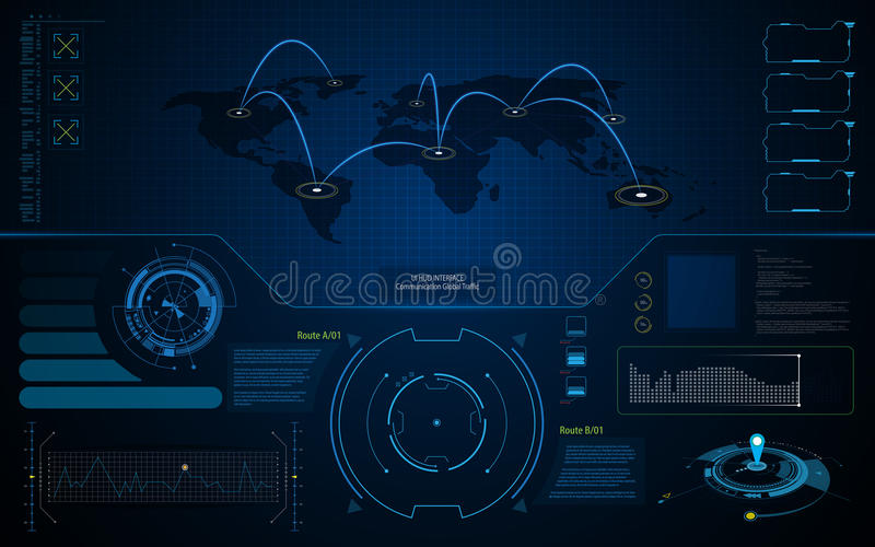 Abstract UI HUD interface screen global communication technology concept template background. Eps 10 vector royalty free illustration