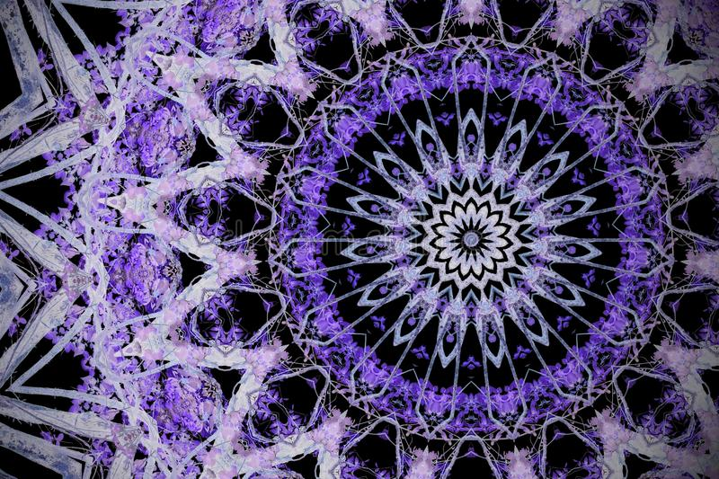 Abstract ultra violet background, kaleidoscope effect mandala fl. Oral pattern royalty free stock photos