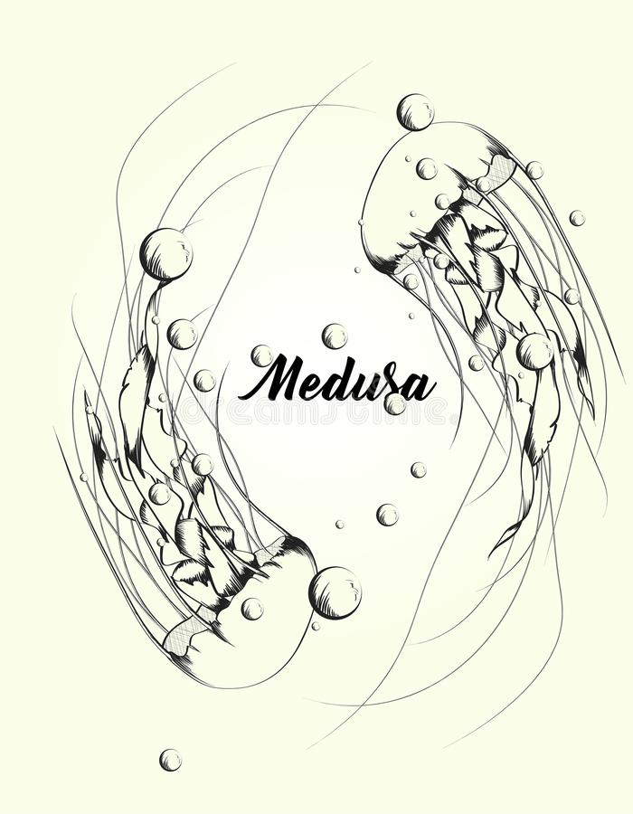 Ocean jellyfishes medusa with wave tentacles, water bubbles. royalty free illustration