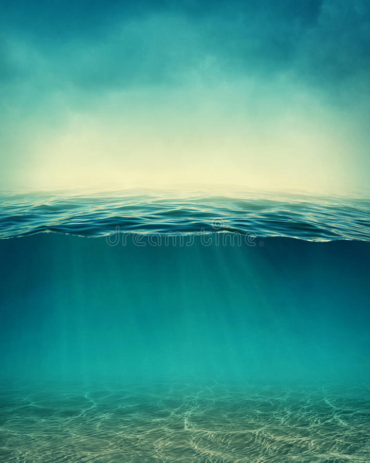 Abstract underwater background. With sunbeams royalty free stock image