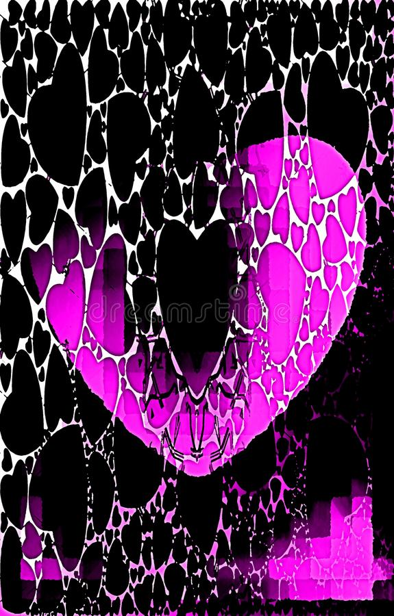 Purple crumbling heart. Oil paint effect. royalty free stock photo