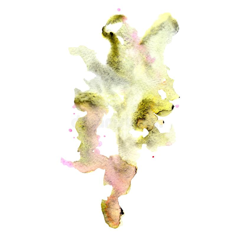 Abstract unusual tree magic forest watercolor blots and splashes silhouette blot. On white background vector illustration
