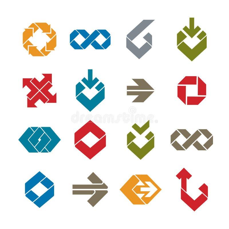 Abstract unusual vector symbols set, creative stylish icon templates collection. stock illustration